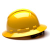 Box of 12 Pyramex Hi Vis Ridgeline Full Brim Vented 4-Point Ratchet Hard Hats HP54130V Yellow Side Profile