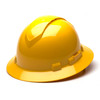 Box of 12 Pyramex Hi Vis Ridgeline Full Brim Vented 4-Point Ratchet Hard Hats HP54130V Yellow Front Angled