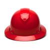 Box of 12 Pyramex Ridgeline Full Brim 6-Point Ratchet Hard Hats HP56120 Red