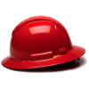 Box of 12 Pyramex Ridgeline Full Brim 6-Point Ratchet Hard Hats HP56120 Red