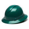 Box of 12 Pyramex Ridgeline Full Brim 6-Point Ratchet Hard Hats HP56135 Green