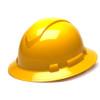 Box of 12 Pyramex Yellow Ridgeline Full Brim 6-Point Ratchet Hard Hats HP56130 Front Angled