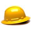 Box of 12 Pyramex Yellow Ridgeline Full Brim 6-Point Ratchet Hard Hats HP56130 Side Profile