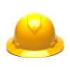 Box of 12 Pyramex Yellow Ridgeline Full Brim 6-Point Ratchet Hard Hats HP56130 Front