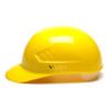 Box of 16 Pyramex Hi Vis Ridgeline 4-Point Glide Lock Bump Caps HP40030 Yellow Side Profile