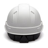 Box of 16 Pyramex Ridgeline Cap Style 4-Point Ratchet Hydro Dipped Hard Hats HP44116 Matte White Back
