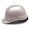 Box of 16 Pyramex Ridgeline Cap Style Vented 4-Point Ratchet Hydro Dipped Hard Hats HP44116SV Shiny White Side Profile