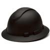 Box of 12 Pyramex Ridgeline Full Brim 4-Point Ratchet Hydro Dipped Hard Hats HP54117 Matte Black Front Angled
