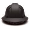 Box of 12 Pyramex Ridgeline Full Brim 4-Point Ratchet Hydro Dipped Hard Hats HP54117 Matte Black Back
