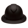 Box of 12 Pyramex Ridgeline Full Brim 4-Point Ratchet Hydro Dipped Hard Hats HP54117 Matte Black Front