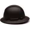 Box of 12 Pyramex Ridgeline Full Brim 4-Point Ratchet Hydro Dipped Hard Hats HP54117 Matte Black Side Profile