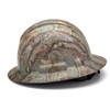 Box of 12 Pyramex Ridgeline Full Brim 4-Point Ratchet Hydro Dipped Hard Hats HP54119 Matte Camo Side Profile