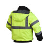 Pyramex Class 3 Hi Vis Lime Black Bottom Weatherproof Bomber Jacket Quilted Liner RJ3210 Back