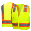 Pyramex Class 2 Hi Vis Lime Two-Toned Lime Safety Vests RVZ2410 Front/Back