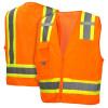 Pyramex Class 2 Hi Vis Orange Two-Toned Safety Vests RVZ2420 Front/Back
