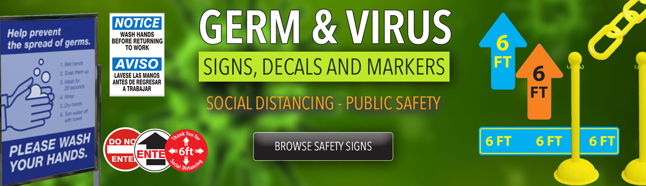 Germ and Virus Signs for Social Distancing