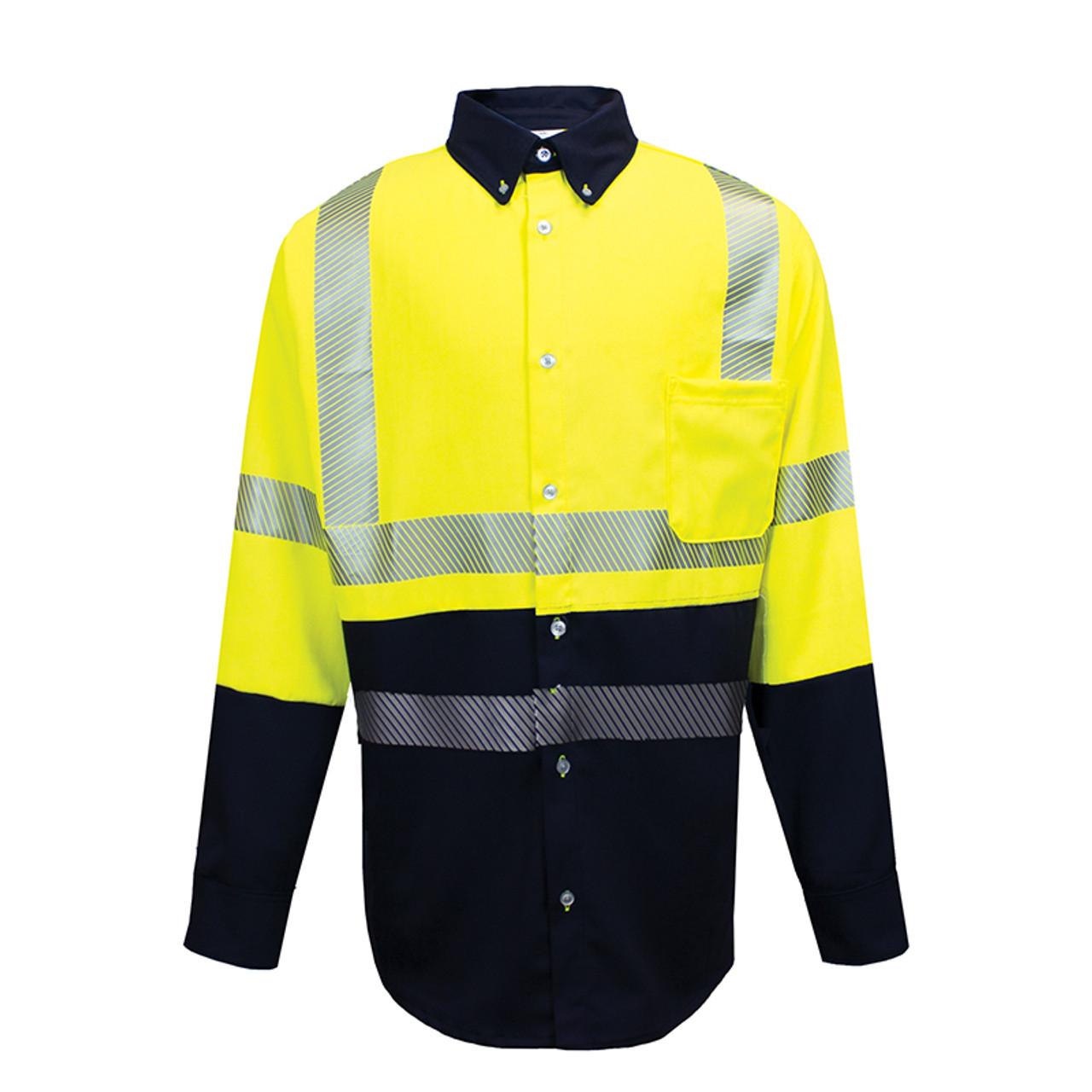 3e903ebf4b3 NSA FR Class 3 Hi Vis Hybrid Button Down Dual Hazard Work Shirt ...