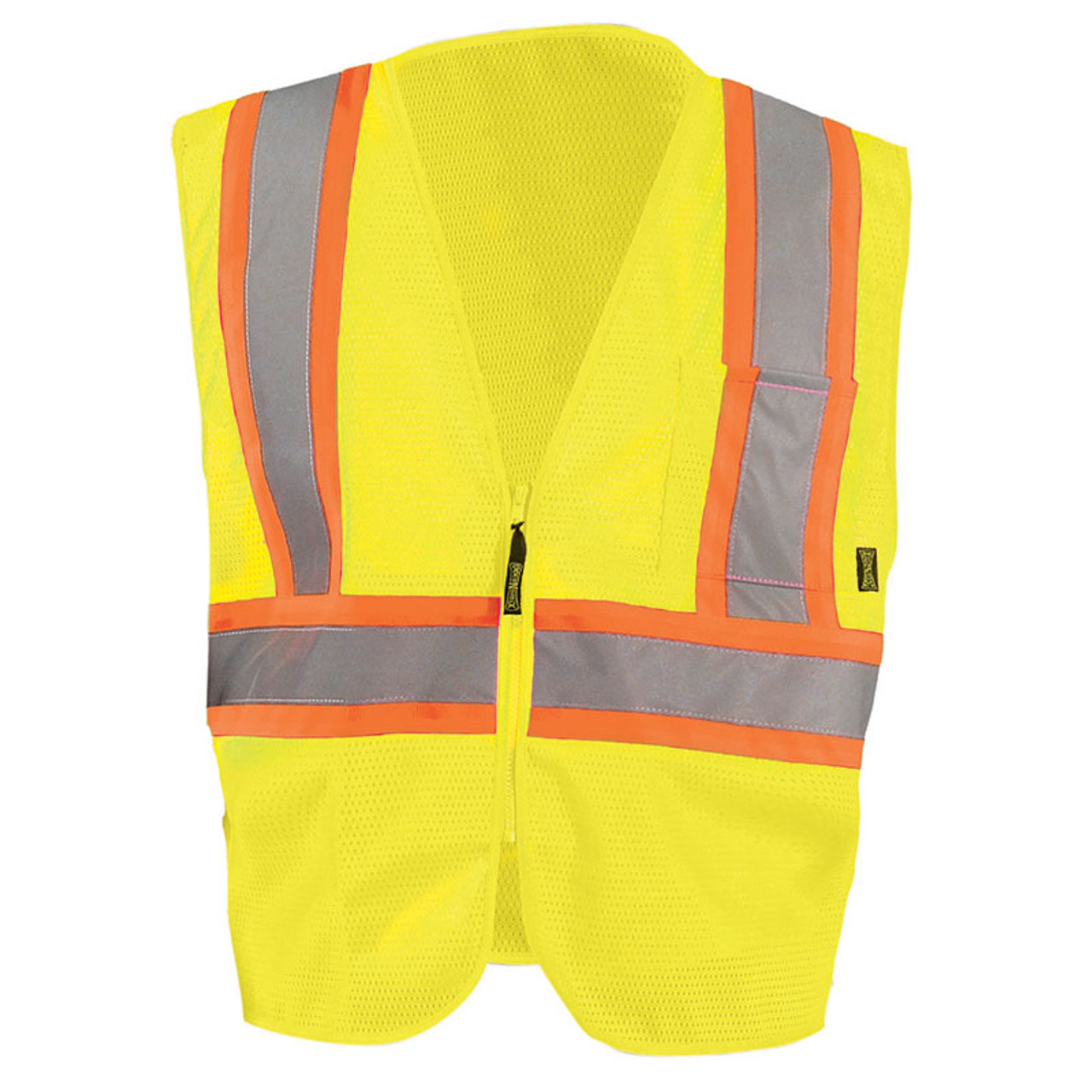 802699760ec Occunomix Class 2 Hi Vis Mesh Two-Tone Economy Safety Vest ECO-IM2TZ Yellow