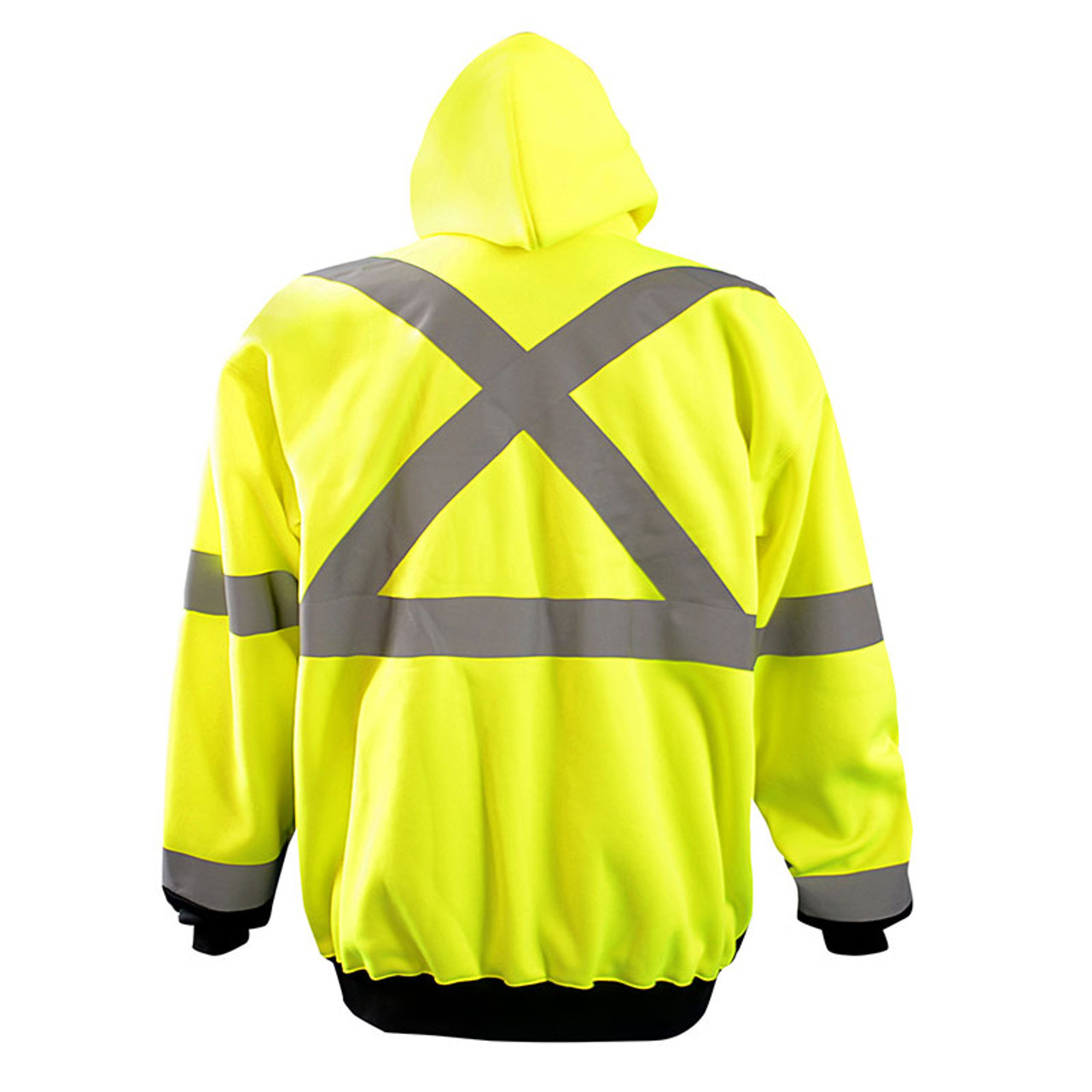 d3e5f47efd57 Occunomix Class 3 Hi Vis X-Back Black Bottom Hoodie LUX-HZSWTBX Yellow Back