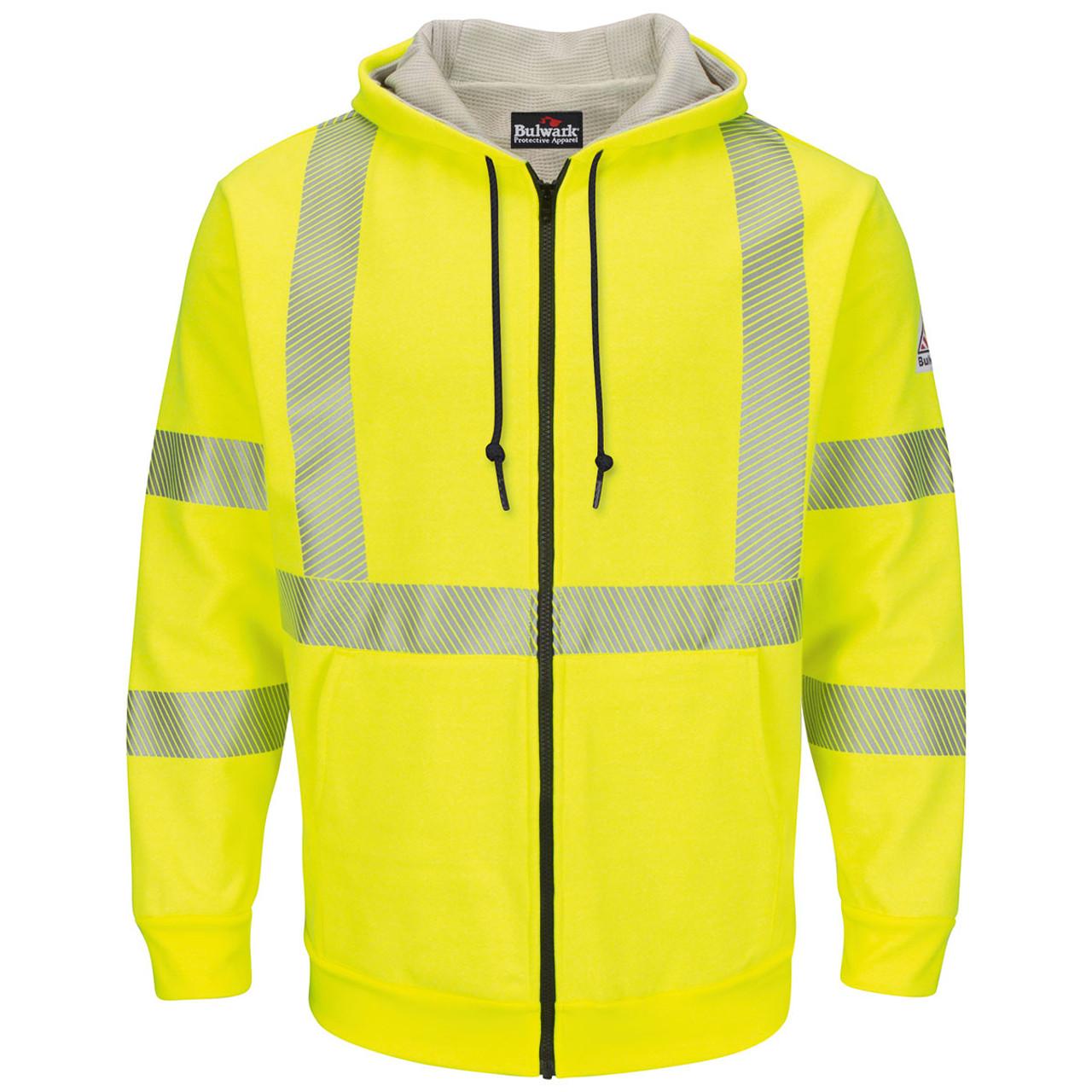 8806ccde599a Bulwark FR Class 3 Hi Vis Zip-Up Hooded Fleece Sweatshirt SMZ4HV