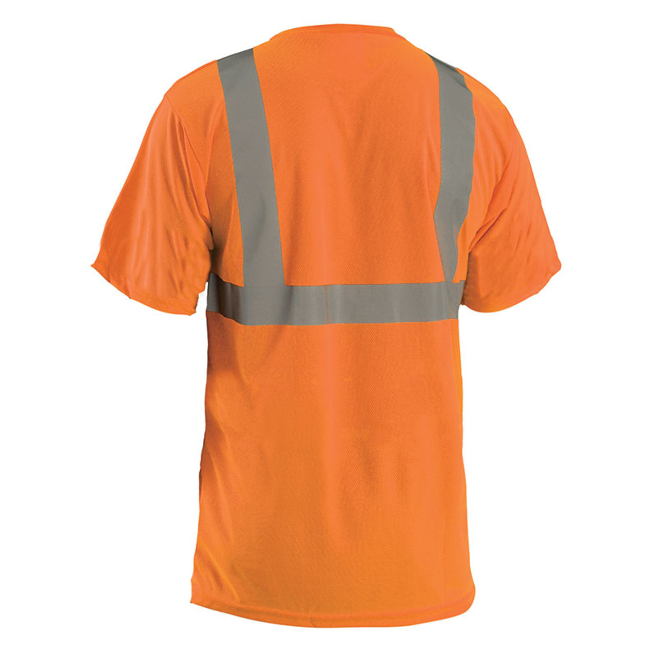High Visibility 100/% ANSI Wicking Polyester Birdseye OccuNomix LUX-SSETP2B-YL Classic Standard Short Sleeve Wicking Birdseye T-Shirt with Pocket Large Yellow Class 2