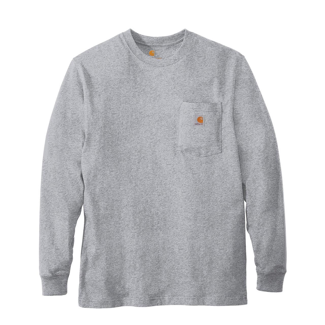 abffec40468b84 Carhartt Long Sleeve T Shirt K126 Heather Gray Front