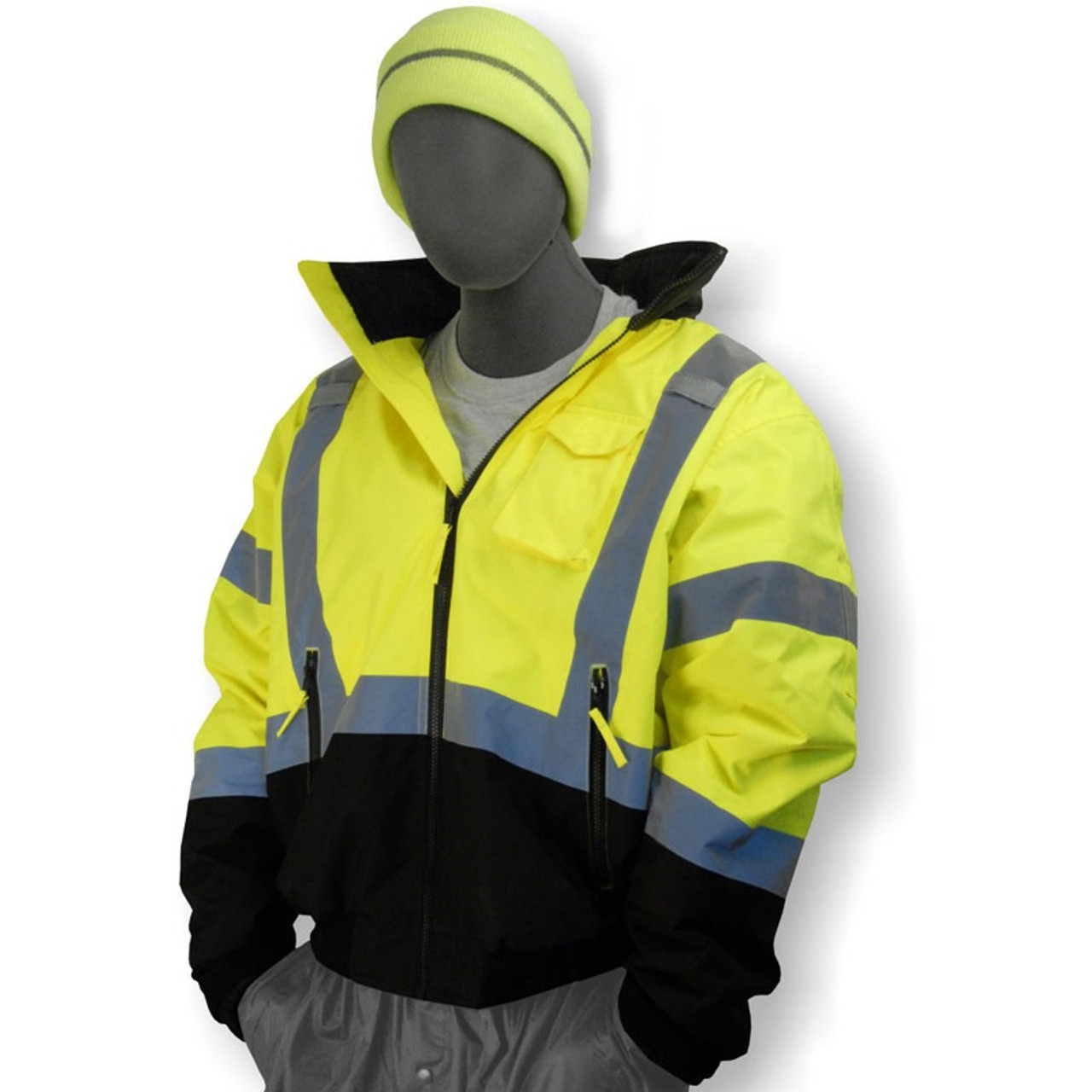 3e2dae99f Majestic Class 3 Hi Vis Yellow Black Bottom Quilted Bomber Jacket 75-1313