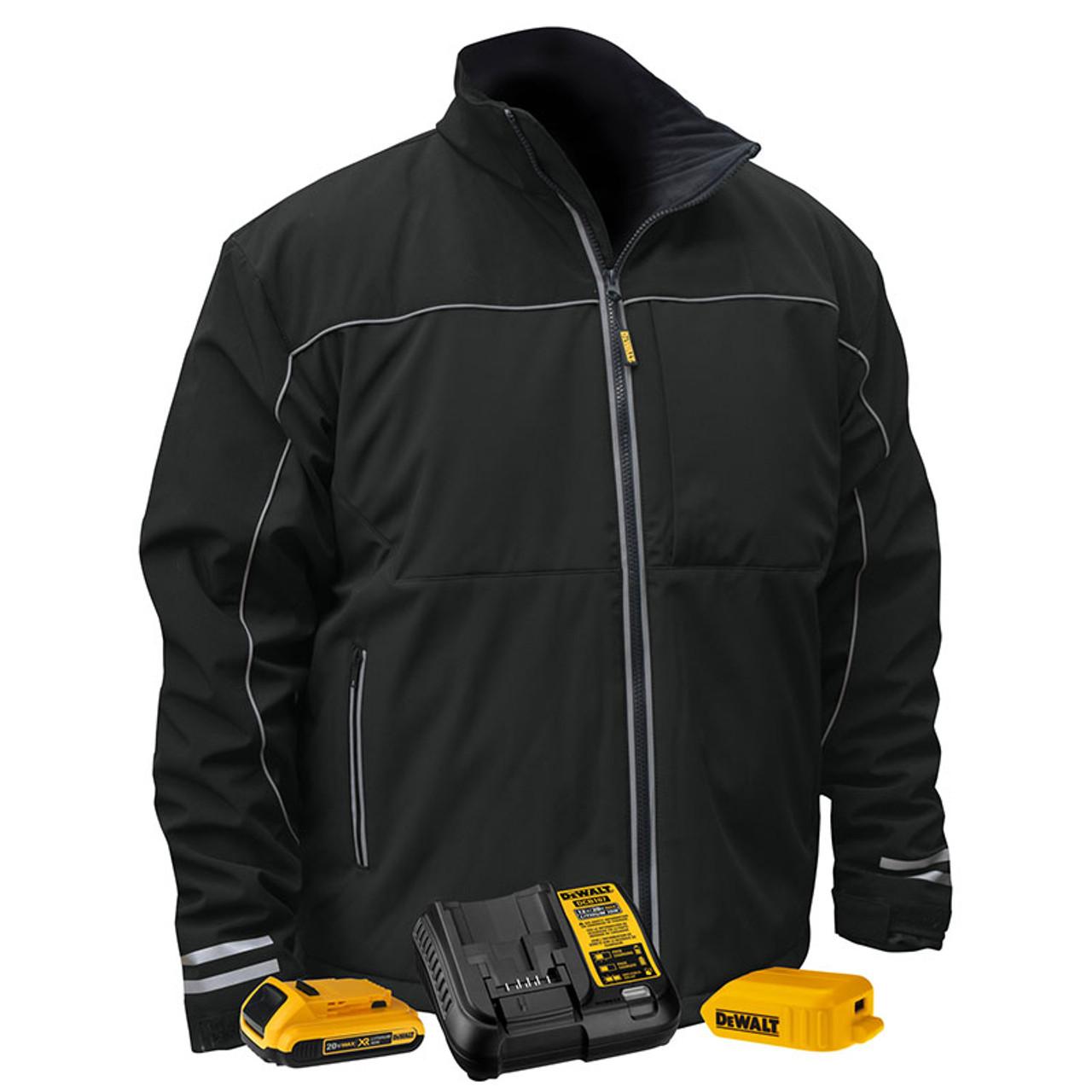 Dewalt Heated Lightweight Soft Shell Black Work Jacket Kit Dchj072d1