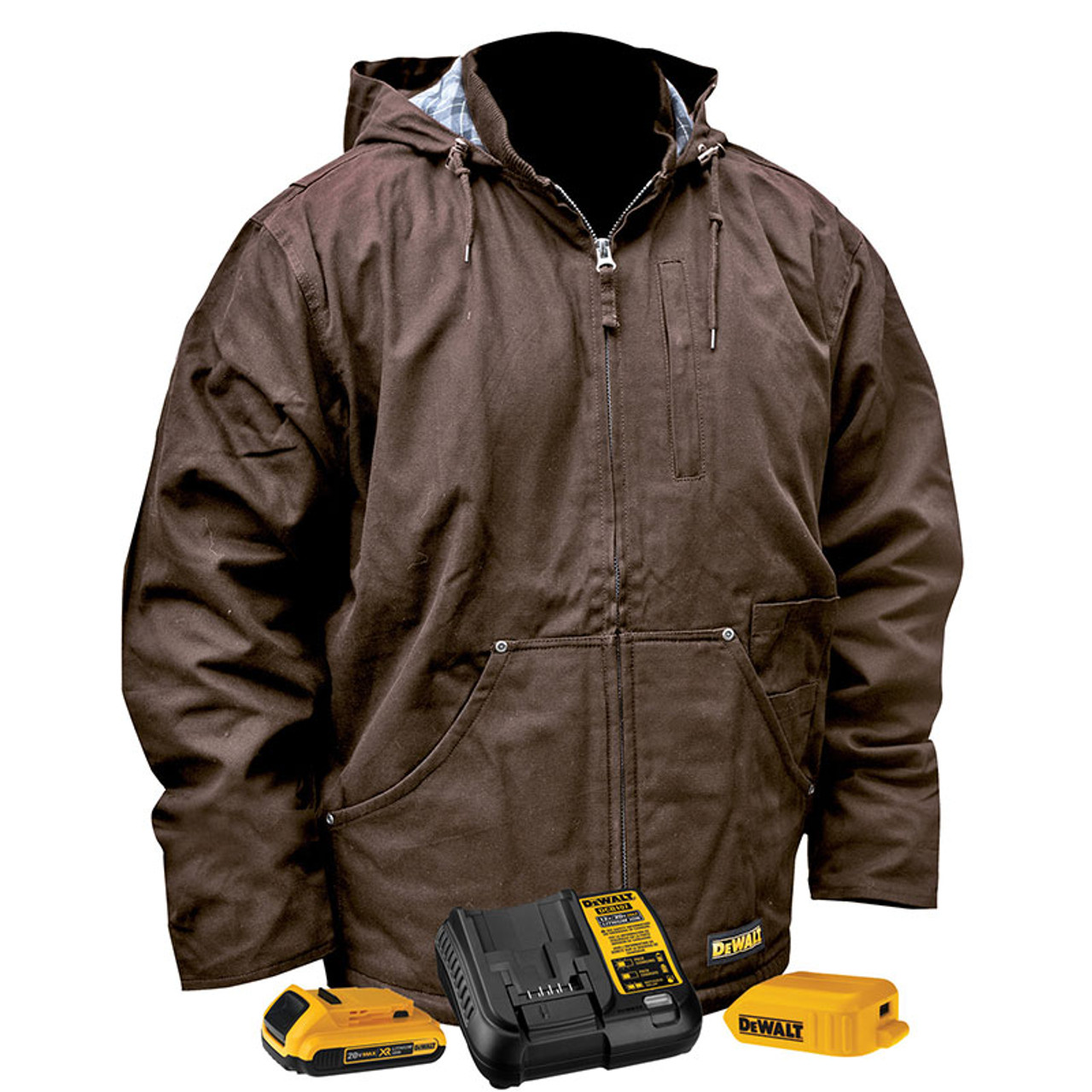 Dewalt Men S Medium Soft Shell 20 Volt Max Xr Lithium Ion Black Jacket Kit With 2 0 Ah Battery And Charger Dchj060atd1 M The Home Depot