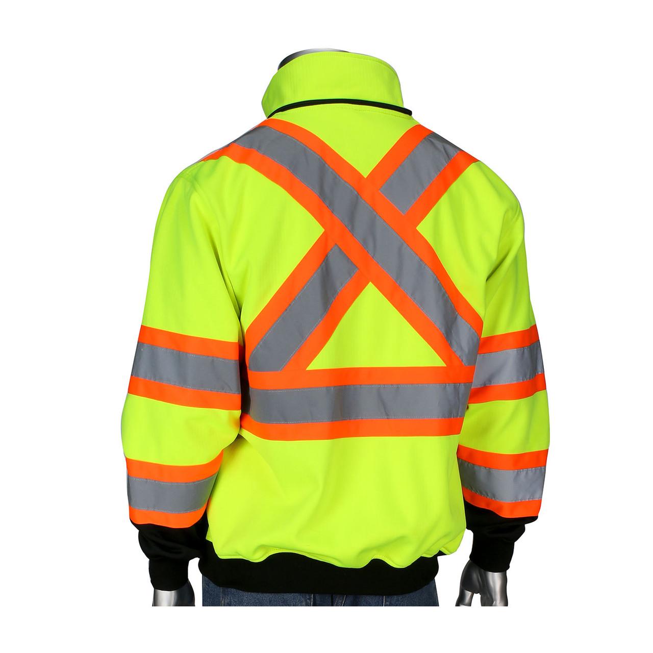esittelijänä hyvä ulos x yksityiskohdat PIP Class 3 Hi Vis X-Back Two-Tone Black Bottom Full Zip Fleece Sweatshirt  323-1475X