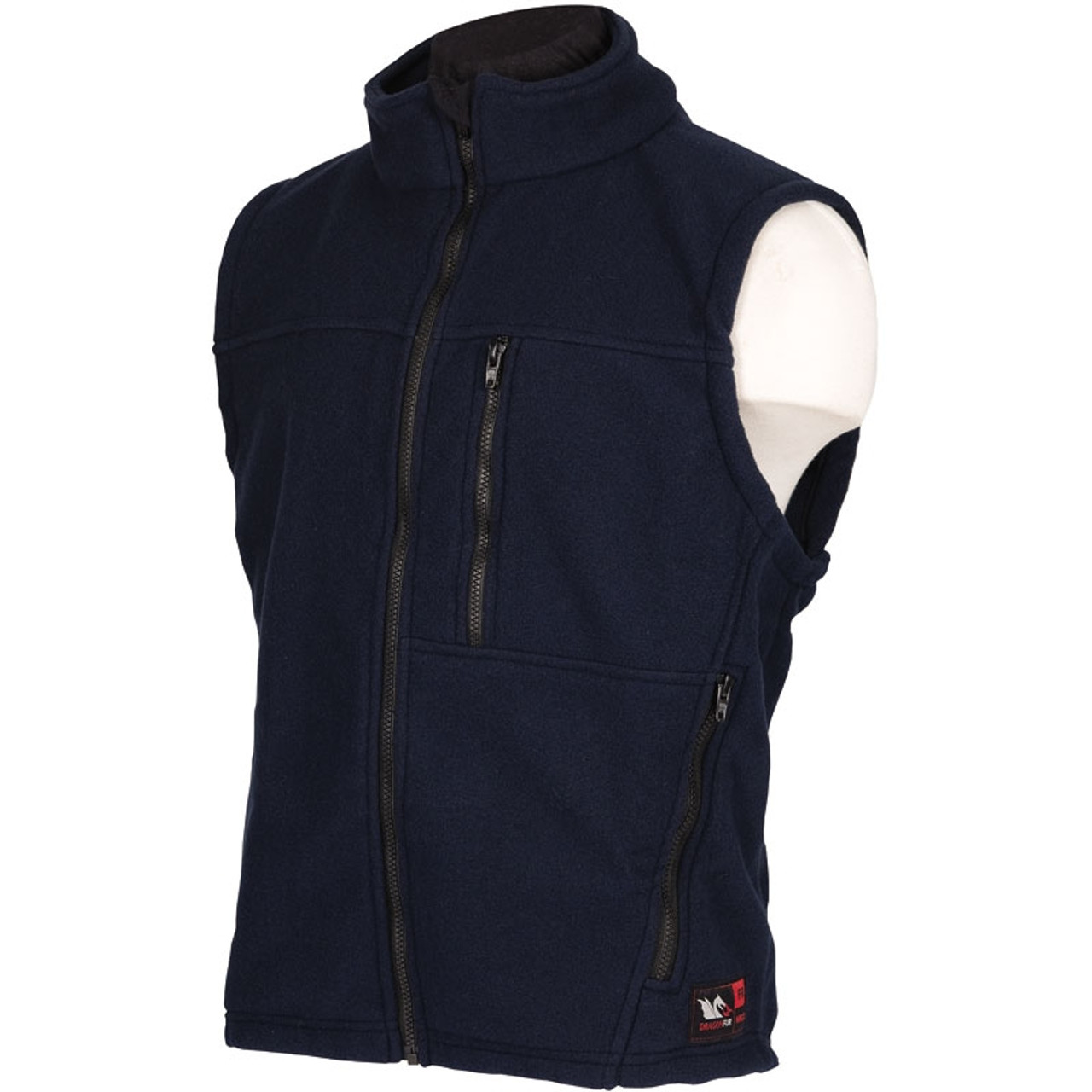cc8fc9f5d267 DragonWear FR Alpha Black Nomex IIIA Fleece Vest DF20