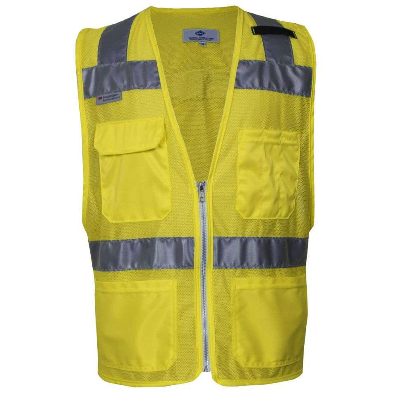 Smart Reflective Safety Vest Pockets Breathable Yellow Orange Mesh Vest Work Wear Safety Clothing Workplace Safety Supplies