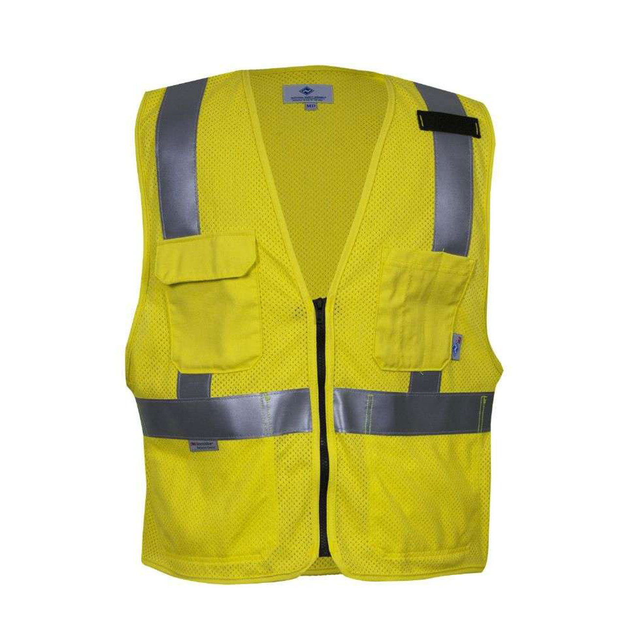Security & Protection Smart Reflective Safety Vest Pockets Breathable Yellow Orange Mesh Vest Work Wear