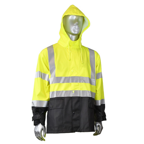 Radians Class 3 Hi Vis Green Black Bottom Rain Jacket RW07J-3ZGV Hood Front