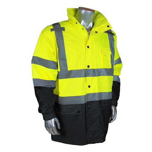 Radians Class 3 Hi Vis Green Black Bottom Rain Jacket RW30-3Z1Y Front