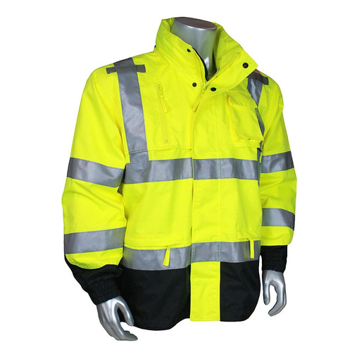 Radians Class 3 Hi Vis Green Black Bottom Rip Stop Rain Jacket RW32-3Z1Y Front