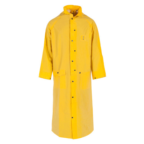 """Neese Non-ANSI Hi Vis Yellow 1790C 60"""" Full Length Raincoat with Snap On Hood 10179-31 Front"""