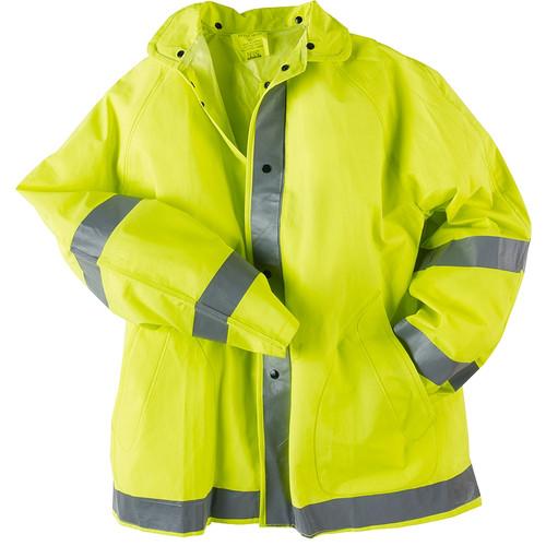 Neese Non-ANSI Hi Vis Yellow 1820J Econo-Viz Rain Jacket with Snap On Hood 10182-01 Jacket