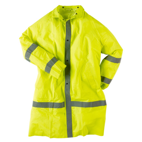 Neese Econo-Viz 1870C Non-ANSI Hi Vis Full Length Raincoat with Snap On Hood 10187-31