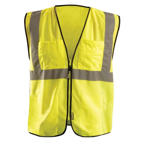 Occunoimx Class 2 Hi Vis Economy Mesh Surveyors Vest with 12 Pockets ECO-GCS Yellow Front