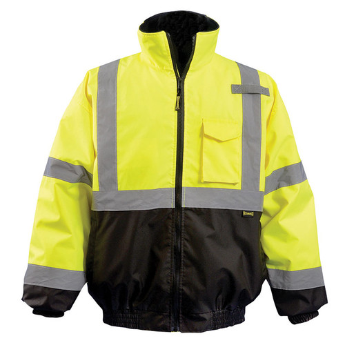 Occunomix Class 3 Hi Vis 2-in-1 Black Bottom Bomber Jacket LUX-350-JB-B Yellow Front