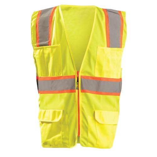Occunomix Class 2 Hi Vis 7 Pocket Surveyor Vest LUX-ATRANS Yellow