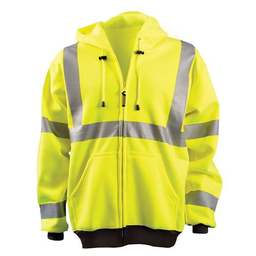 Occunomix Class 3 Hi Vis Full Zip Up Hooded Sweatshirt LUX-HZSWT Yellow Front