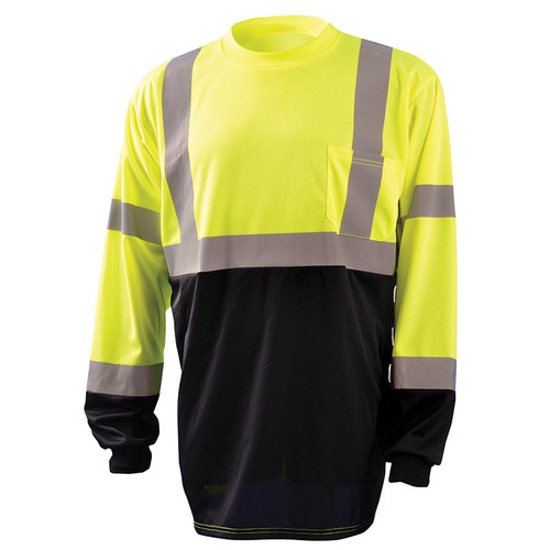 Occunomix Class 3 Hi Vis Black Bottom Moisture Wicking Long Sleeve T-Shirt LUX-LSETPBK Yellow Front