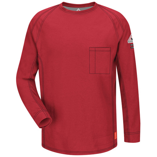 Bulwark FR iQ Series Comfort Knit Long Sleeve T-Shirt QT32 Red Front