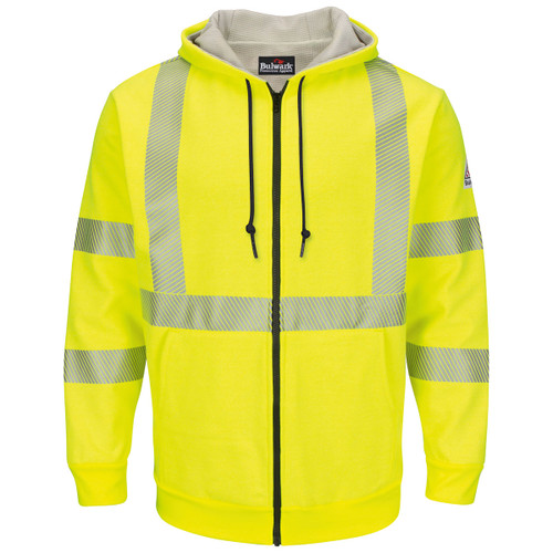 Bulwark FR Class 3 Hi Vis Zip-Up Hooded Fleece Sweatshirt SMZ4HV