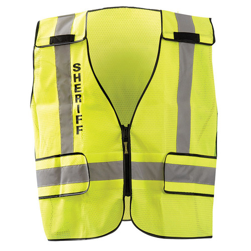 Occunomix Class 2 Hi Vis Yellow Sheriff Public Safety DOR Mesh Vest LUX-PSS-DOR Front