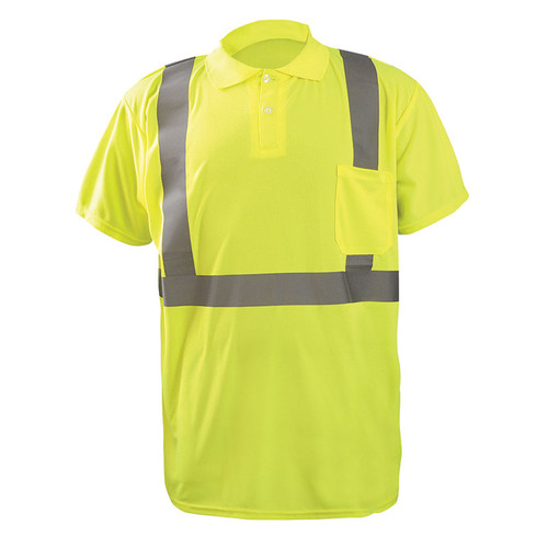 Occunomix Class 2 Hi Vis Moisture Wicking Short Sleeve Polo Shirt LUX-SSPP2B Yellow Front