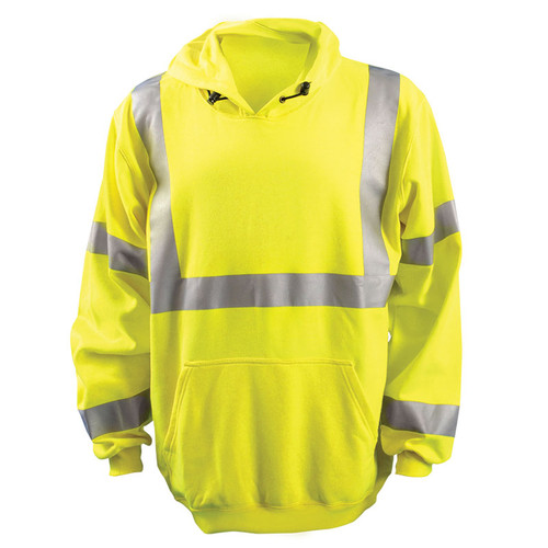 Occunomix FR Class 3 Hi Vis Yellow Hooded Sweatshirt LUX-SWT3FR Front