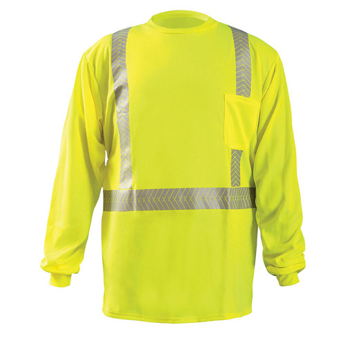 Occunomix Class 2 Hi VIs Long Sleeve T-Shirt with Segmented Tape LUX-TLSP2B Front